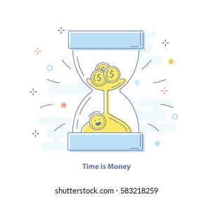 Time is money concept. Hourglass and funny coins inside. Flat line vector illustration.