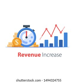 Time is money concept, stopwatch and portfolio performance graph, revenue increase chart, business growth, return on investment, fast money raise, financial success, vector icon, flat illustration