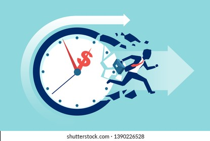 Time is money concept. Vector of a businessman breaking a clock face running for a profit