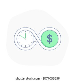 Time is money. Connection of clock (time) and dollar (money) symbols. Flat outline business vector illustration.