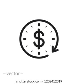 time is money icon, dollar with clock linear sign isolated on white background - editable vector illustration eps10