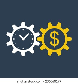 Time is money, income growth, return on investment, business and finance management, stock market, joint venture, mutual fund, bond, annual payment, pension savings account, make money, vector icon