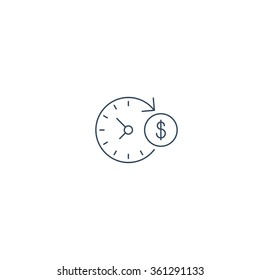 Time is money, investment return, fast loan, easy money, cash back concept, stock market, time management, interest rate, revenue increase, long term finance plan, instant payment, vector line icon