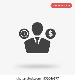 Time and money management icon vector