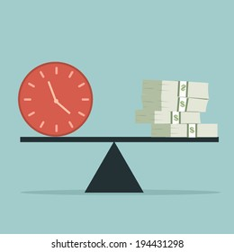 Time and money on the scale. Money concept