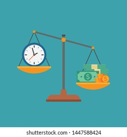 Time and money on scales as business concept of life choice. Symbol of financial success and stress from work disbalance, metaphor of working hours value. Flat vector illustration.