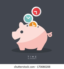 Time is Money Piggy Bank Vector Illustration