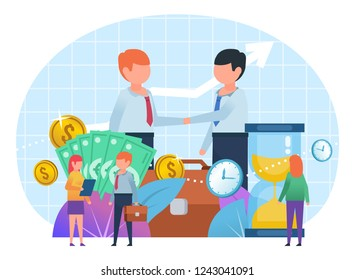 Time and money, successful business agreement, deal, teamwork. People stand near big watches, money. Poster for web page, social media, banner, presentation. Flat design vector illustration