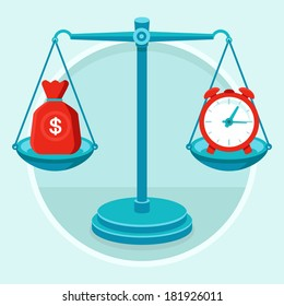 Time is money - vector concept in flat style - bag of money and alarm clock on the weigher