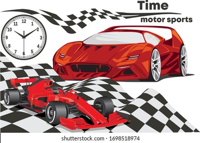 Time Motorsport-racing car and supercar. Vector illustration of sports car, luxury car, the dial of the watch, and a sports flag.