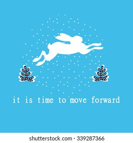 It is time to move forward, hare runs, Silhouettes rabbit,