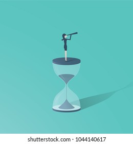 Time is up movement with woman standing on top of sand clock or hourglass with telescope. Symbol of future for women, vision. eps10 vector illustration.