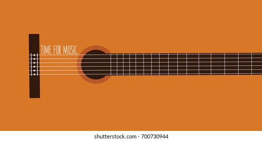 time for music. closeup or close up classical guitar vector background flat design. classic music cartoon. concept musical. acoustic wooden guitar. melody concert creative cover page modern isolated