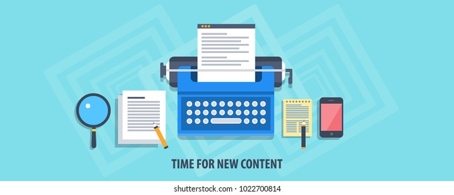 Time for new content, Content research, writing and development, type writer flat design concept