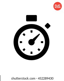 Time on the stopwatch Icon Flat Style Isolated Vector Illustration