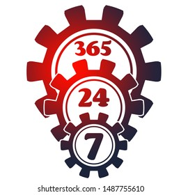 Time operation mode in gear. Gear pyramid. For customer support and retail. Seven days twenty four hour. Cogwheels overlay