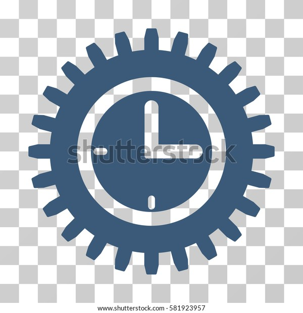 Time Options vector pictogram. Illustration style is a flat iconic blue symbol on a transparent background.