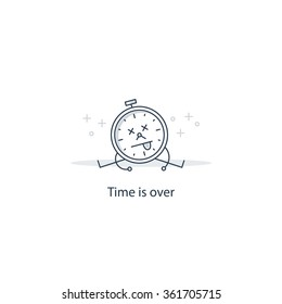 Time is over, kill time, deadline concept, give up, error 404 page not found, vector illustration