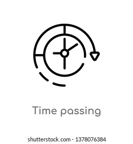 time passing vector line icon. Simple element illustration. time passing outline icon from productivity concept. Can be used for web and mobile