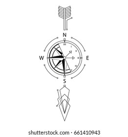 (Time and place) arrow line, compass, clock, abstraction, Vector illustration