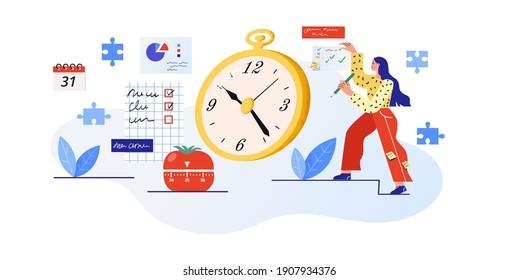 Zeitplanung, Vektorgrafik. Eine junge Frau kontrolliert und leitet den Geschäftsprozess. Effizientes und produktives Arbeitskonzept