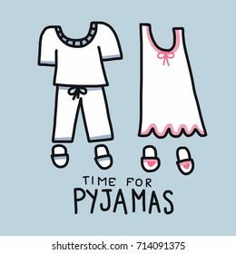 Time for Pyjamas (Pajamas) word and cartoon vector illustration