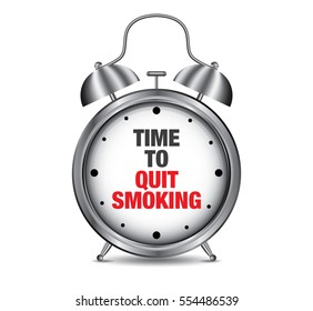 Time to Quit Smoking on retro alarm clock, vector illustration