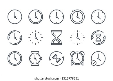 Time related line icons. Clock and watch vector linear icon set.