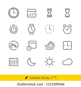 Time Related Vector Line Icons Set. Contains of: Clock, Calender, Hourglass, Watch, Stopwatch, Alarm, Sunny Day, Night, Moon, Sun and more - In Editable Line / Stroke Design