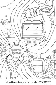 Time to relax. coloring page for adults, anti-stress, train travel through the vast fields and forests, a trip to the sea. Coloring book for adults. Black and white drawing of a hand, vector