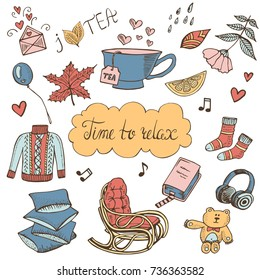 Time to relax doodle set. Hand drawn vector illustration, design elements for cards with cute sweater, rocking chair, pillows, toy, cup of tea, book.