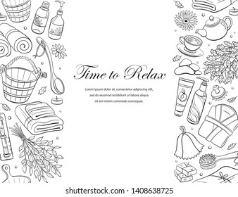 Time to relax. Sauna accessories sketches in vertical line composition. Hand drawn spa items collection. Doodle sauna objects isolated on white background.