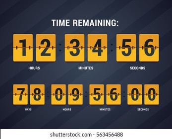 Time remaining illustration. Countdown mechanical clock in flat style. Vector illustration.