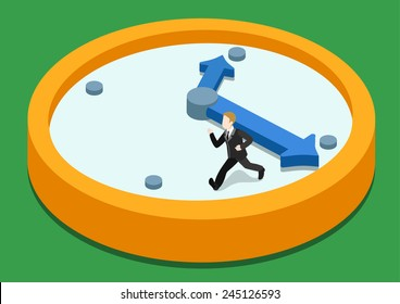 Time rush flat 3d web isometric infographic concept vector. Business man running away on clock from big hand. Creative people collection.