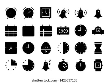 time & schedule glyph icon symbol set