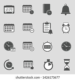 Time And Schedule Icons. Sticker Design. Vector Illustration.