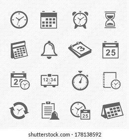Time and Schedule stroke symbol icons set vector illustration.