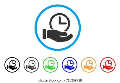 Time Service rounded icon. Style is a flat time service grey symbol inside light blue circle with black, gray, green, blue, red, orange variants. Vector designed for web and software interfaces.