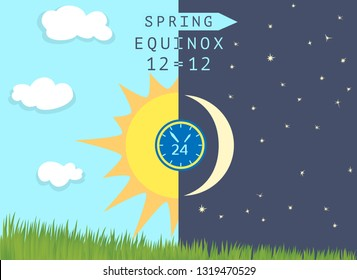 Time of spring equinox occurs around 20 March. Day becomes longer than night in the northern hemisphere. Half Sun and half Moon over growing wheat germs. Vector illustration.