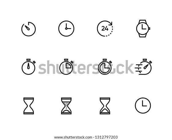 Time, Stopwatch and clock line icons. Vector linear icon set