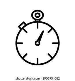 Time stopwatch icon. Clock pictogram. Flat symbol for web. Line stroke. Isolated on white background. Vector eps10