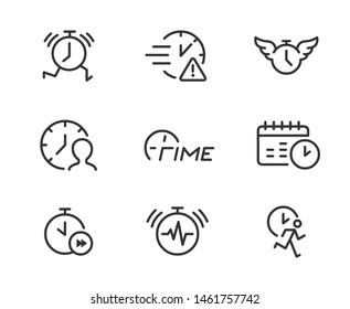 Time stress line icons. Concept of busy schedule, time management, running late, work deadline.