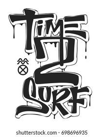 Time to surf, print design for t-shirt vector illustration