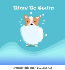 Time to swim ! Funny dog Corgi loves to swim and invites you with him! He's not afraid of water!