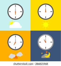 TIME TABLE clocks show 4 times for people routine and the sky icons indicate the time as usual.