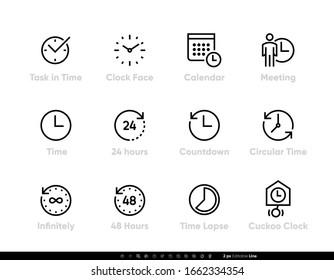 Time, Task, Clock, Calendar, Meeting, 24 hours, Lapse icon set editable line vector illustration on white background