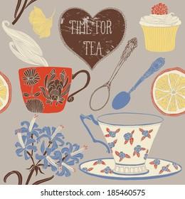 Time for tea. Card design. Vector illustration.