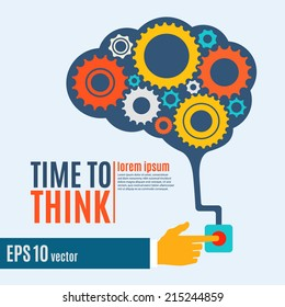 Time to think, creative brain idea concept, background. Flat design. Perfect for poster, flyer, presentation or brochure. Vector illustration