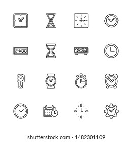 Time, Timer, Clock outline icons set - Black symbol on white background. - lined simplicity Sign. Flat Vector thin line Icon - editable stroke