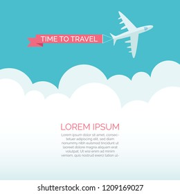 Time tp travel vector illustration. Travel concept with jet flying over clouds